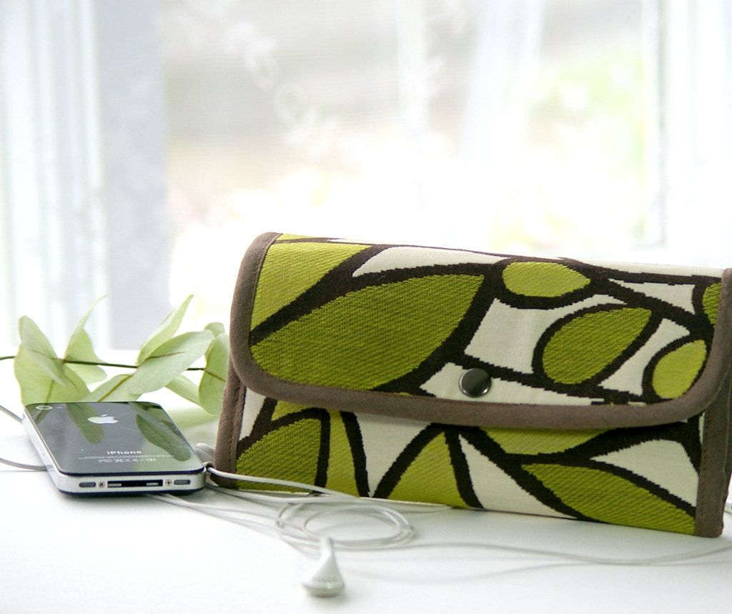 Phone wallet - type 5 - for bulky phones, in lime and chartreuse leaves. via Etsy.
