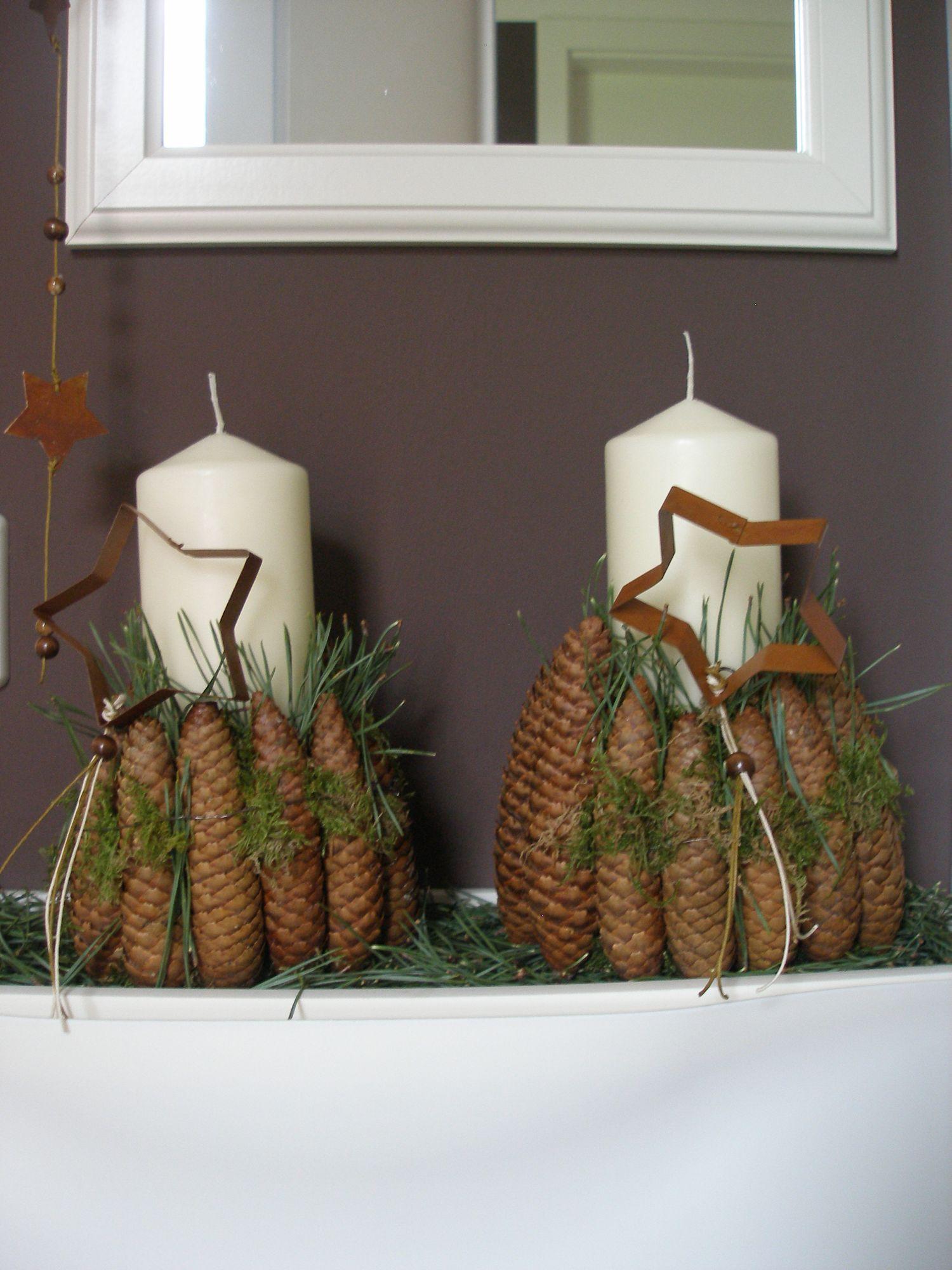 weihnachtsdeko mit kerze und zapfen deko. Black Bedroom Furniture Sets. Home Design Ideas