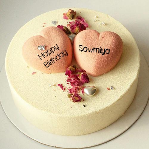 Vanilla Flavor Birthday Cake With Heart For Husband Sowmiya