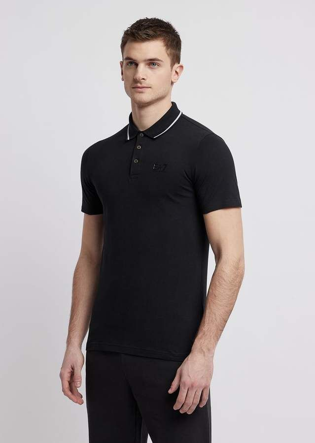 f9e9a06cc2 Emporio Armani Stretch Cotton Jersey Polo Shirt With Ea7 Logo in ...