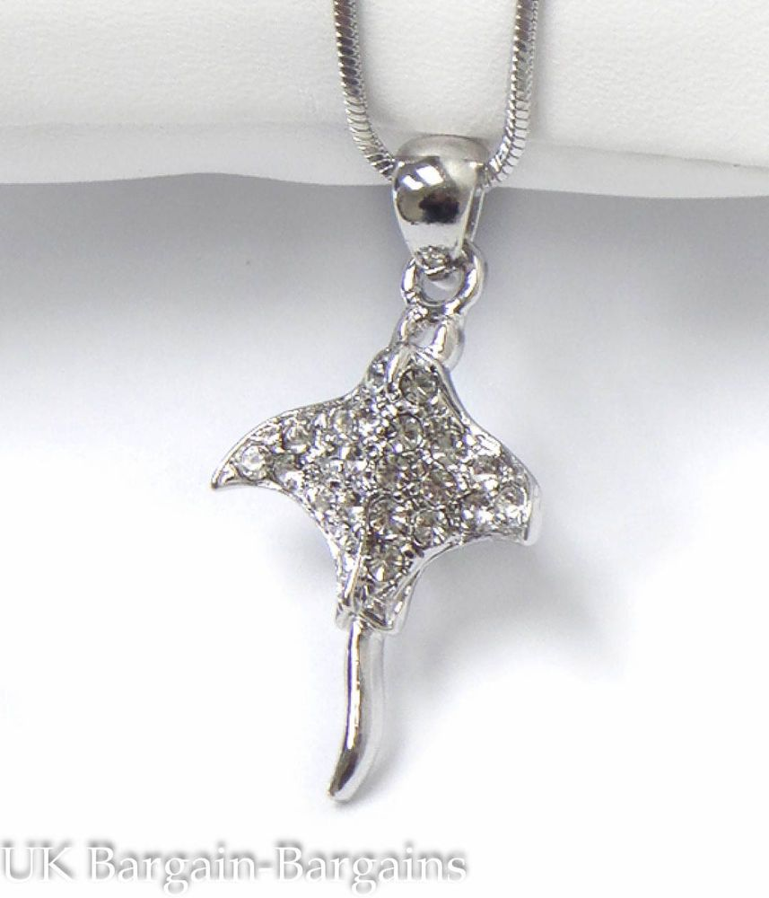 FREE GIFT BAG Silver Plated Rhinestone Crystal Spider Necklace Chain Jewellery