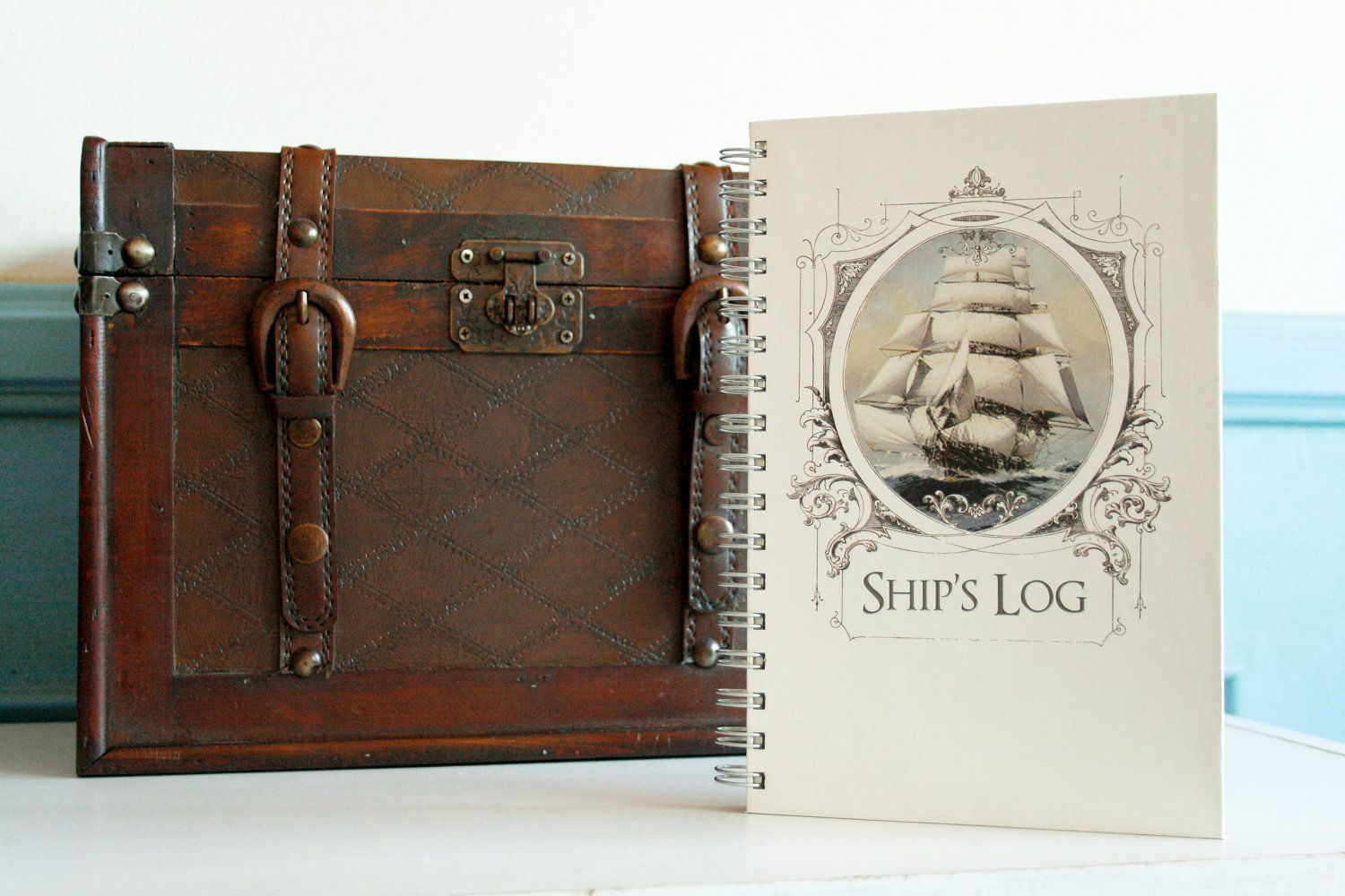 """Nautical Journal, Vintage Sailing Ship in Victorian Frame, Wire Bound Notebook - 5.625"""" X 8.625"""". $25.00, via Etsy."""
