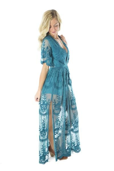 432f5e47322b Bridesmaids dress. A Night at Mallow Run- Teal Lace Maxi