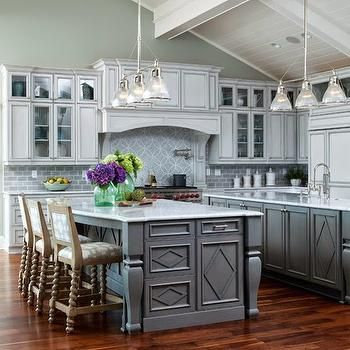 Secondary Kitchen Island, Transitional, kitchen, Restoration Hardware Silver Sage, Amy Tyndall Designs