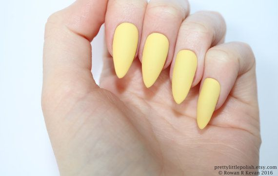 Matte Pastel Yellow Stiletto Nails Fake Nail By Prettylittlepolish
