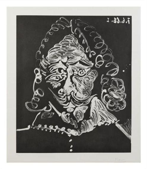 Pablo Picasso, Portrait de mousquetaire triste, 1968; 21/50