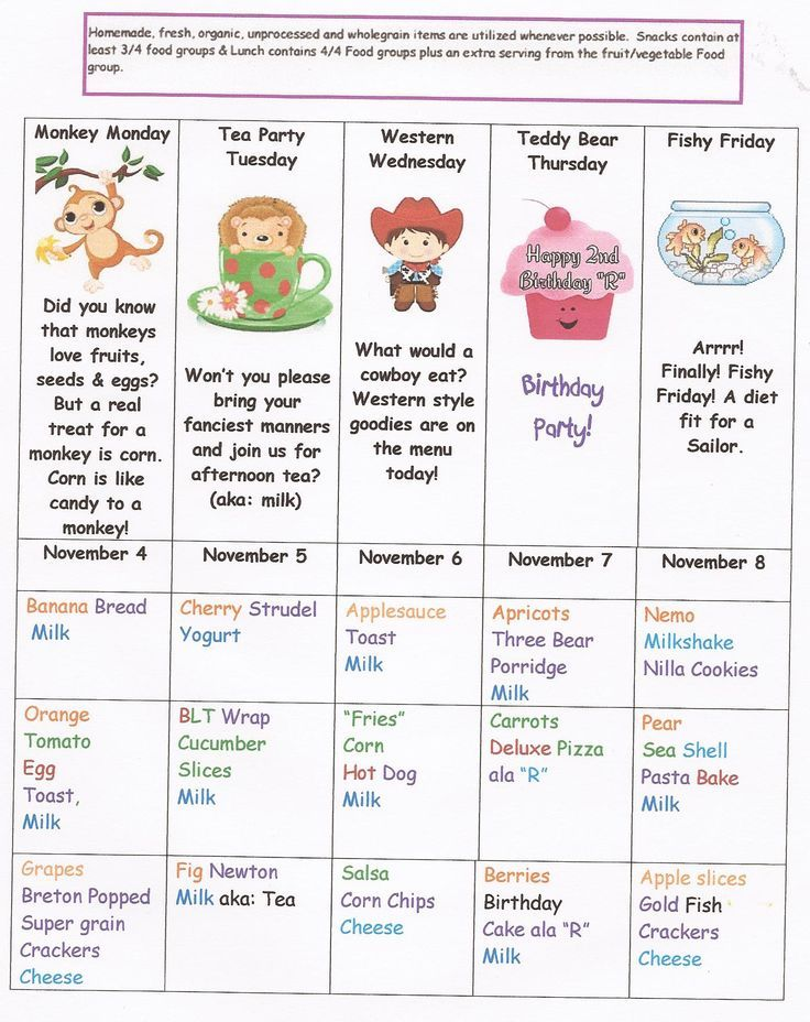 Printable Menus Daycares 2013-11-4 Daycare Menu Projects to Try
