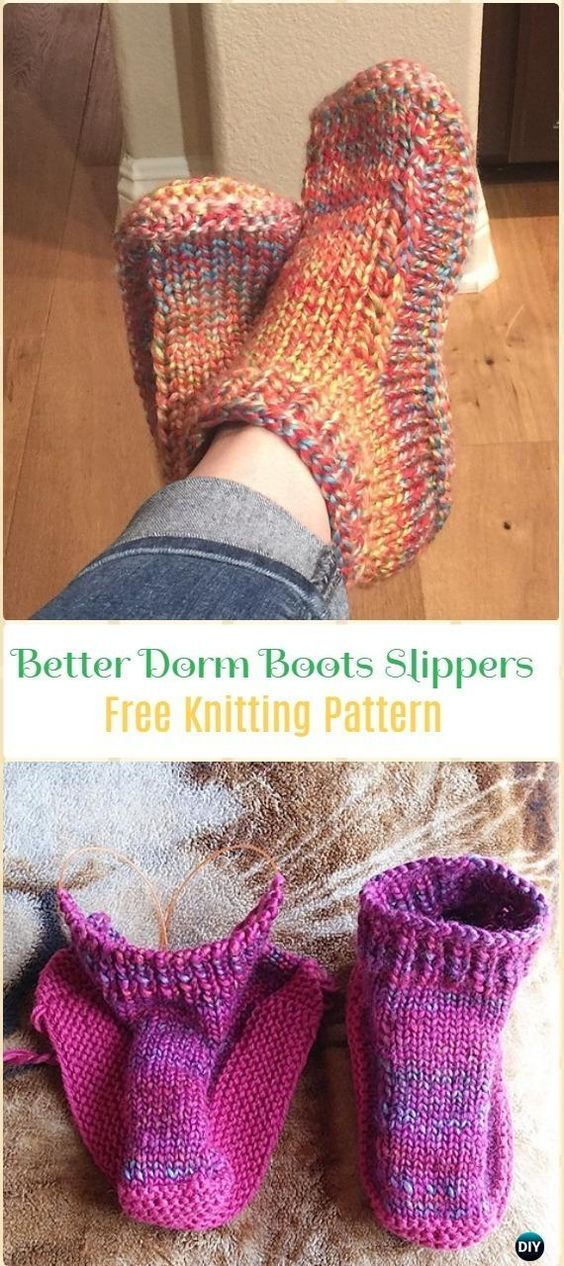 Knit Better Dorm Boots Slippers Free Pattern - Knit Adult Slippers ...