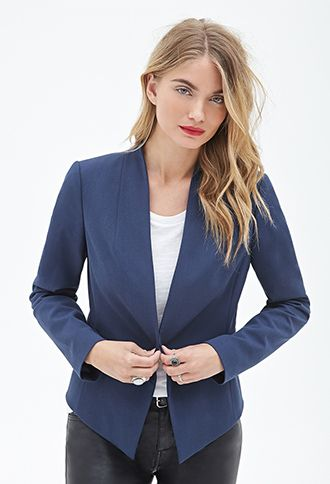 Open-Front Collarless Blazer | Love21 - 2000120010