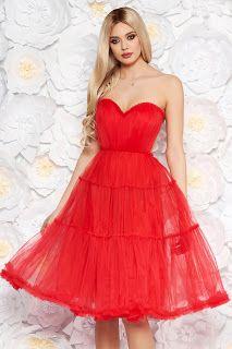 rochie ana radu rosie de lux tip corset cu bust buretat