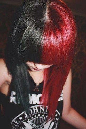 Half Black Half Red Hair Styles Half And Half Hair Dyed Hair