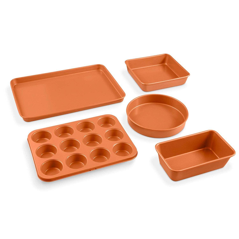 Gotham Steel 5 Piece Complete Copper Nonstick Bakeware Set With