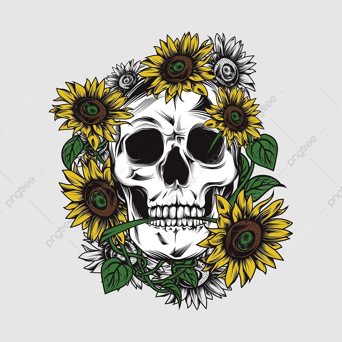 Skull With Sunflower Vector Skull Clipart Skull Icons Sunflower Icons Png And Vector With Transparent Background For Free Download Sunflower Art Print Sunflower Art Skull Icon