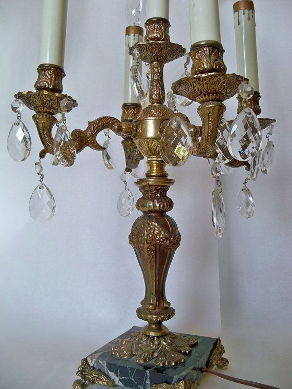Reserved Item Ornate Antique Brass Candelabra Dripping Crystals Shabby Chic Table Lighting Fixture Marble Bas Shabby Chic Candelabra Candelabra Antique Lamps
