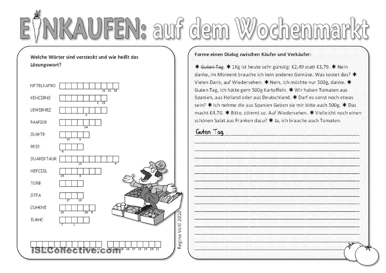 Einkaufen. Auf dem Wochenmarkt. | German, Learn german and Language