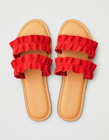 All the RuffleDetail Spring Fashion Money Can Buy for Under $100 is part of Womens sandals, American eagle shoes, Sandals, Strap sandals, Women shoes, Nike shoes women - Your wardrobe and your wallet will thank you