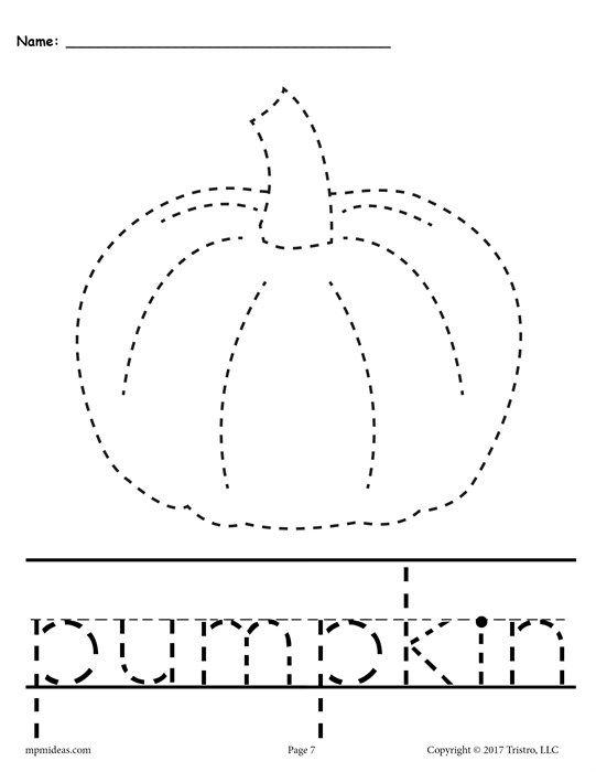 10 Printable Fall Tracing Handwriting Worksheets Pre K