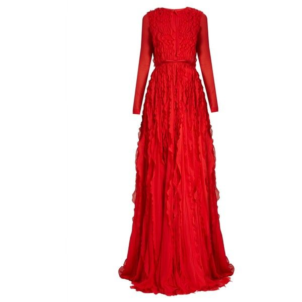 Giambattista Valli Ruffled silk-georgette gown (€3.965) ❤ liked on Polyvore featuring dresses, gowns, long dresses, evening gowns, red, frilly dresses, ruffled ball gowns, giambattista valli gown, bow dress and flounce dress