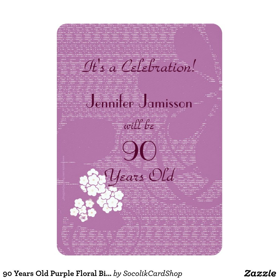 90 Years Old Purple Floral Birthday Party Invite What A Wonderful Fun 90th
