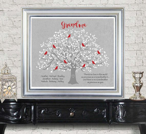 Grandma Gift- Family Tree - 8x10 Custom Print- Personalized gift for