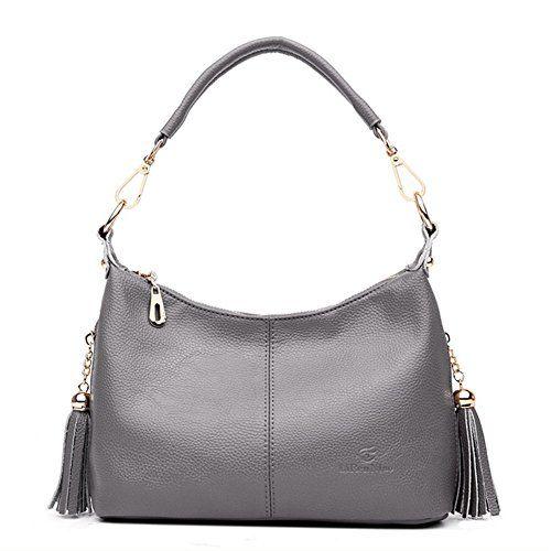 263fc72adf97 Lilyshop Women s Genuine Leather Top Handle Satchel Handbag Tote Retro  Tassel Shoulder Bag Purse Crossbody Bag
