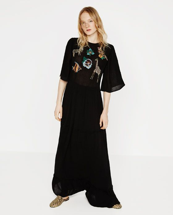 Zara black lace maxi dress