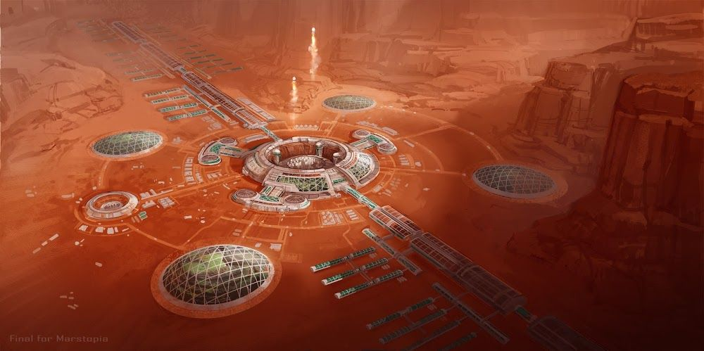 Mars colony with domed gardens and spaceport by Duncan Li ...