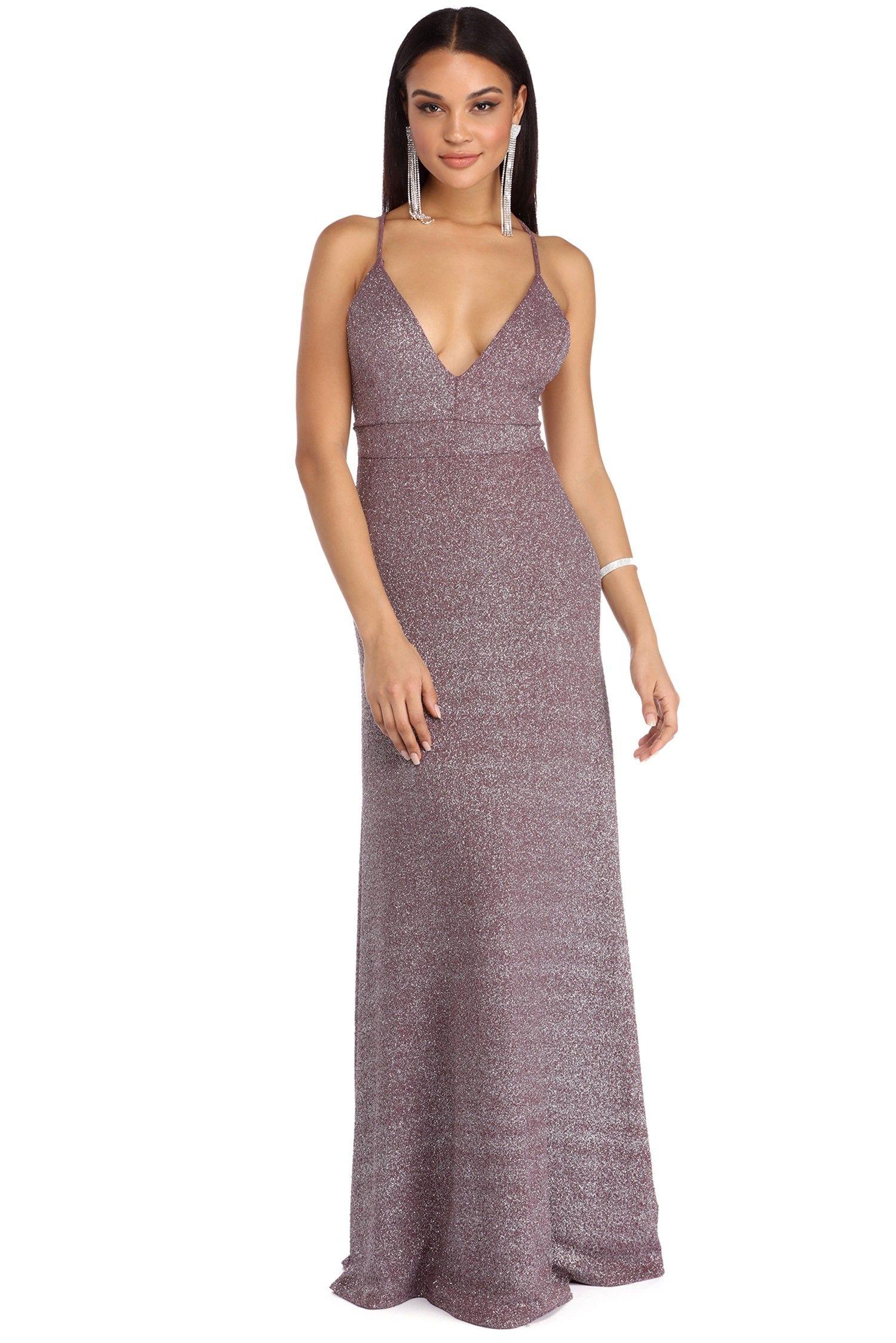 Jordana lavender plunging glitter dress lavender red carpet and