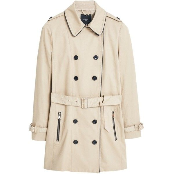 Mango Cotton-Blend Trench Coat, Light Pastel Brown (46 CAD) ❤ liked on Polyvore featuring outerwear, coats, jackets, brown coat, brown trench coat, pastel pink coat, trench coat and long sleeve coat
