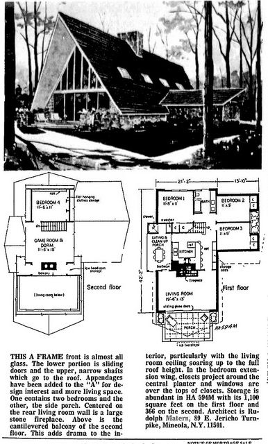 Rudolph Matern Ha594m A Frame Vacation House Plans A Frame House Plans A Frame Floor Plans