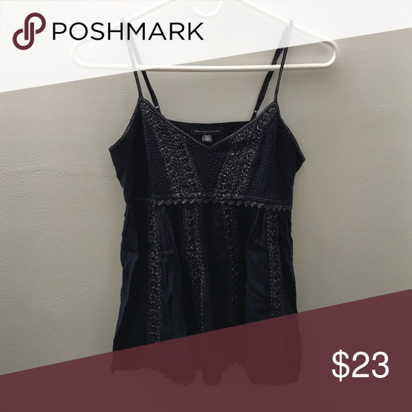 Navy blue tank top with silver detailing Super cute navy tank top with detailing and spaghetti straps American Eagle Outfitters Tops Tank Tops