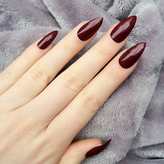 Doobys Stiletto Nails Deep Red Gloss Gel Look 24 By Doobysuk