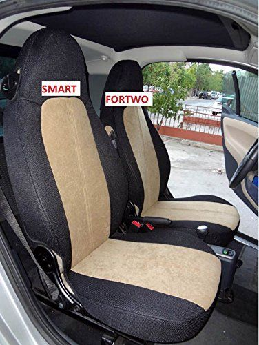 Mix Velour And Synthetic TWO High Quality Custom Fit Car Seat Covers Fits Smart Fortwo 19982007 Beige Black Sides More Info Could Be Found At The