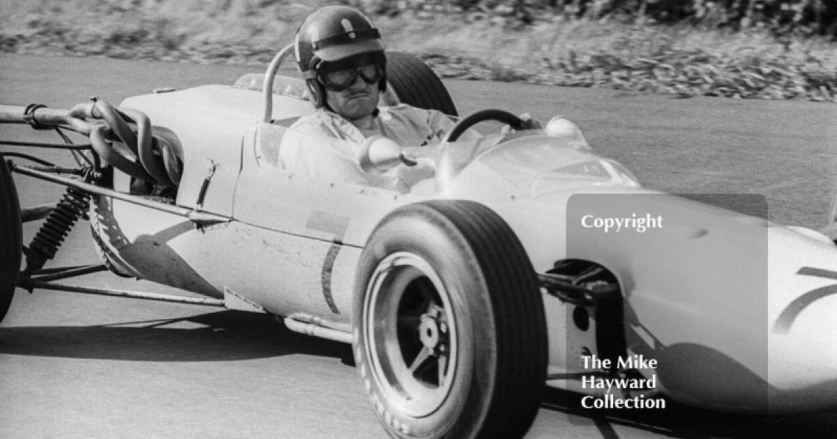Graham Hill at Esso Bend with his F2 John Coombs Lotus 35BRM, Oulton Park Gold Cup, 1965