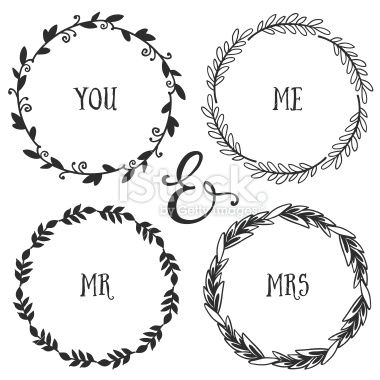 Hand Drawn Rustic Vintage Heart Wreaths Floral Vector Graphic