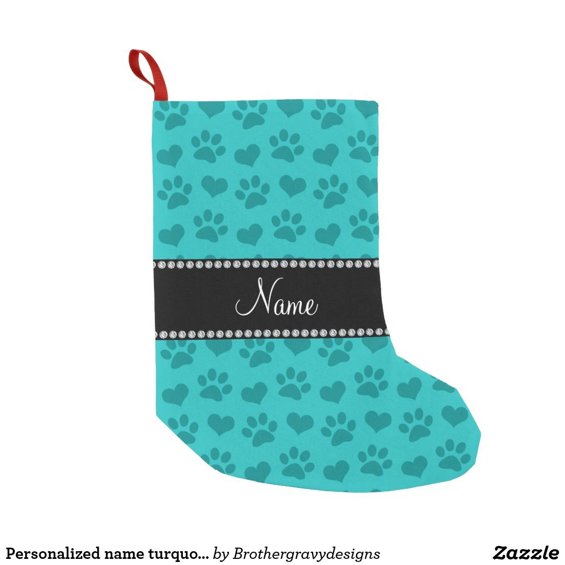 personalized name turquoise hearts and paw prints small christmas stocking - Small Christmas Stockings