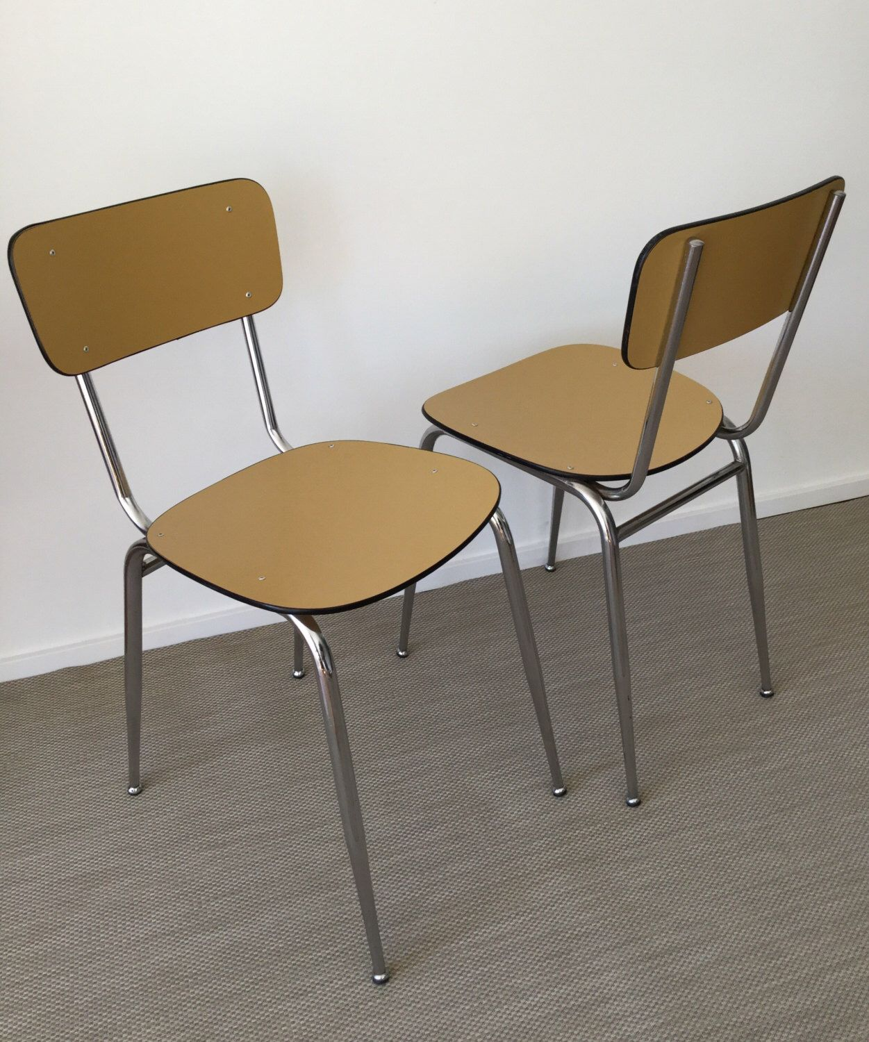 Set of two classic formica kitchen chairs from the 60\'s / 70\'s ...