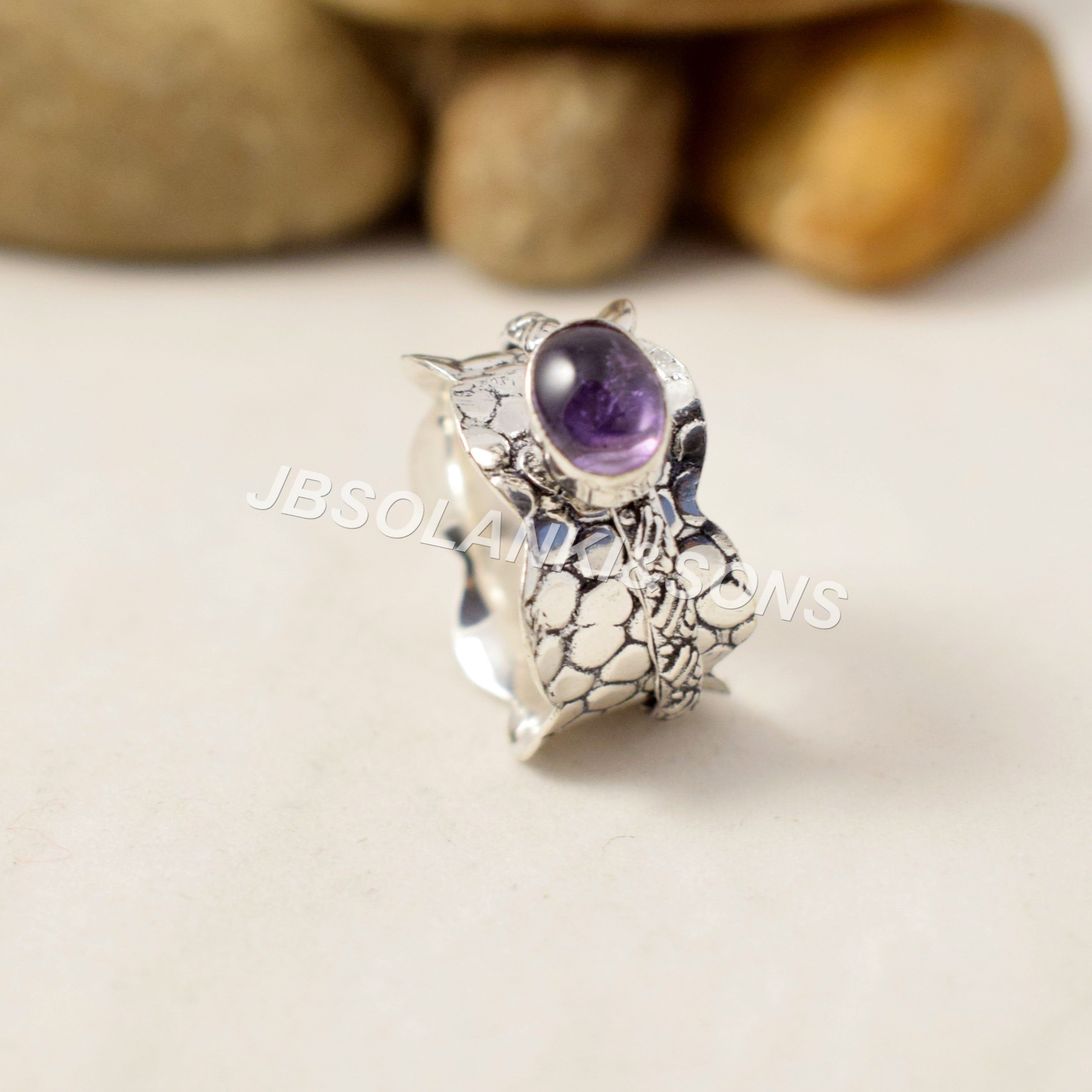 Thumb Ring Spinner Ring Gift For Her Amethyst Natural Gemstone Ring Antique silver Ring Silver Band Ring 925 Sterling Silver Ring
