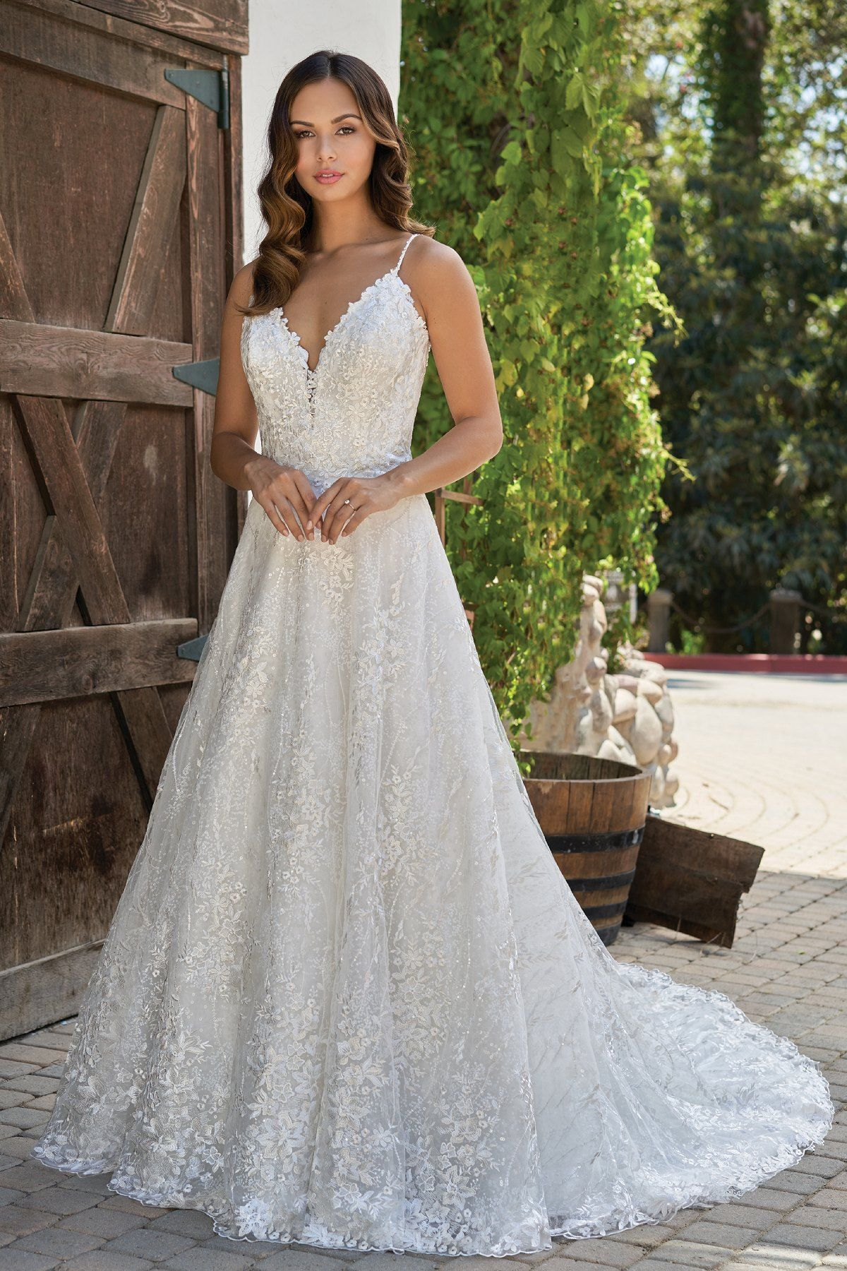 T212012 Romantic Embroidered Lace Wedding Dress With V Neckline Embroidered Lace Wedding Dress Beautiful Wedding Dress Lace Wedding Dresses [ 1800 x 1200 Pixel ]