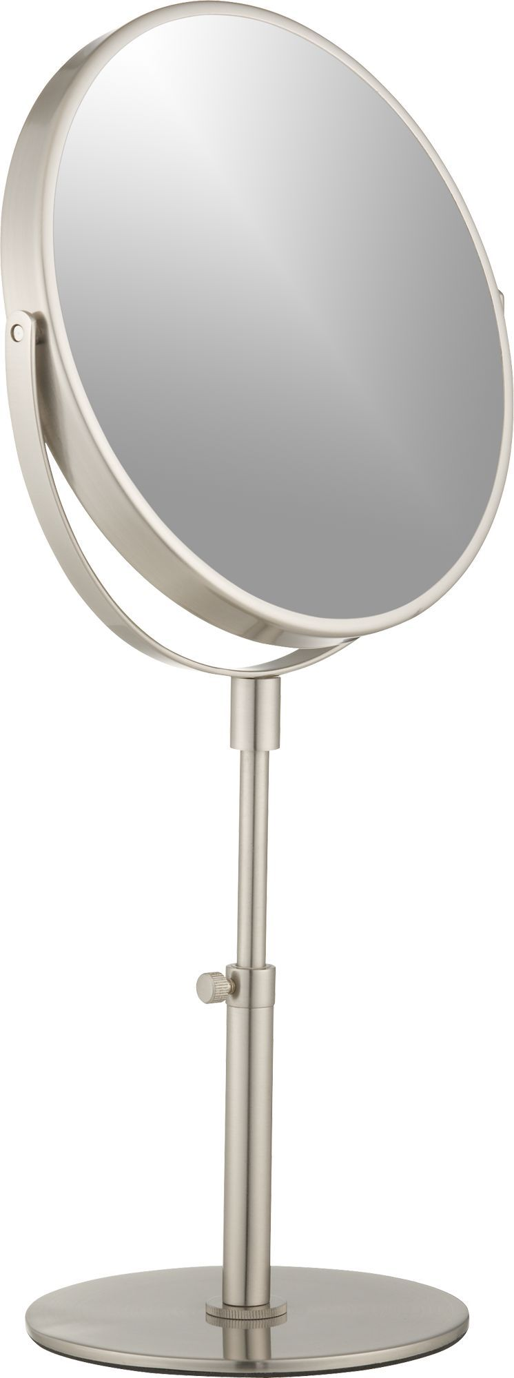 Round vanity mirror flips to two magnifications to get an up-close ...