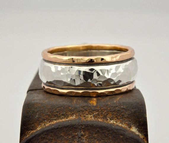Oxidized. Black silver band Gent/'s ring Men/'s silver ring Men/'s silver band Men/'s antiqued silver and gold band Silver and gold ring