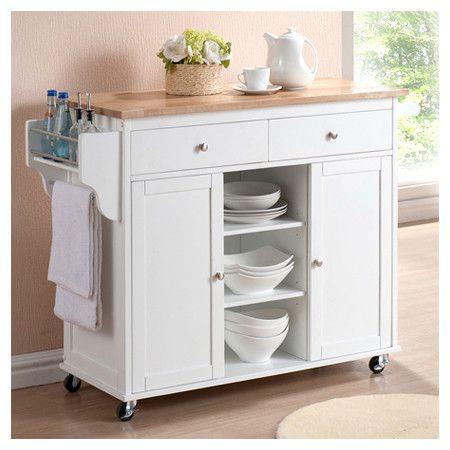 Meryland Modern Woop Top Kitchen Cart In White