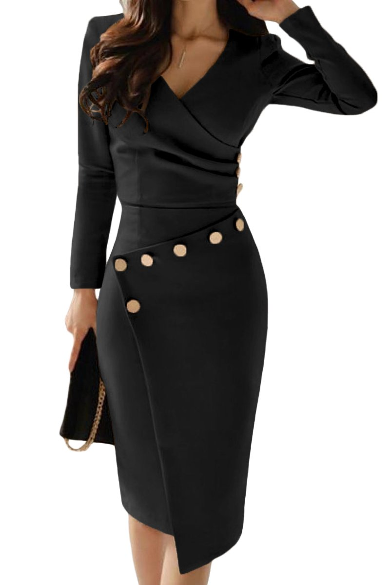 d91b9dcc82ba Asymmetric Button Detail Black Ruched Midi Dress in 2019 | Dresses ...