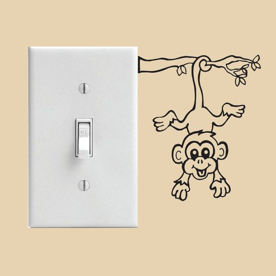 Monkey Light Switch Decal Or Wall Decal Funny Wall Art Wall Art Diy Paint Wall Paint Designs Simple ideas to do art on switchboard.small designs to do wall painting near switchboard. monkey light switch decal or wall decal