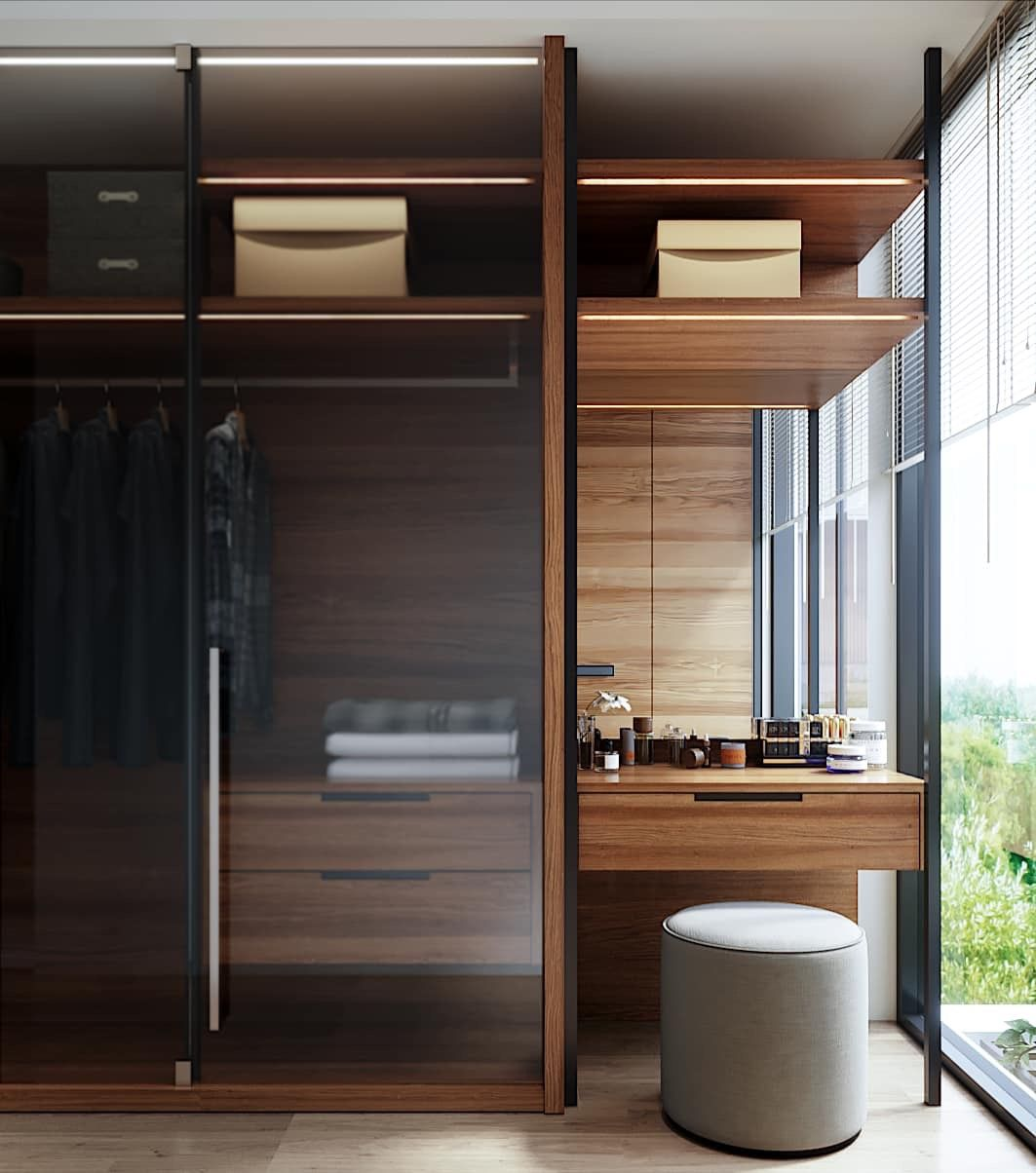 Dressing table attached to wardrobe in 2019   Wardrobe ...
