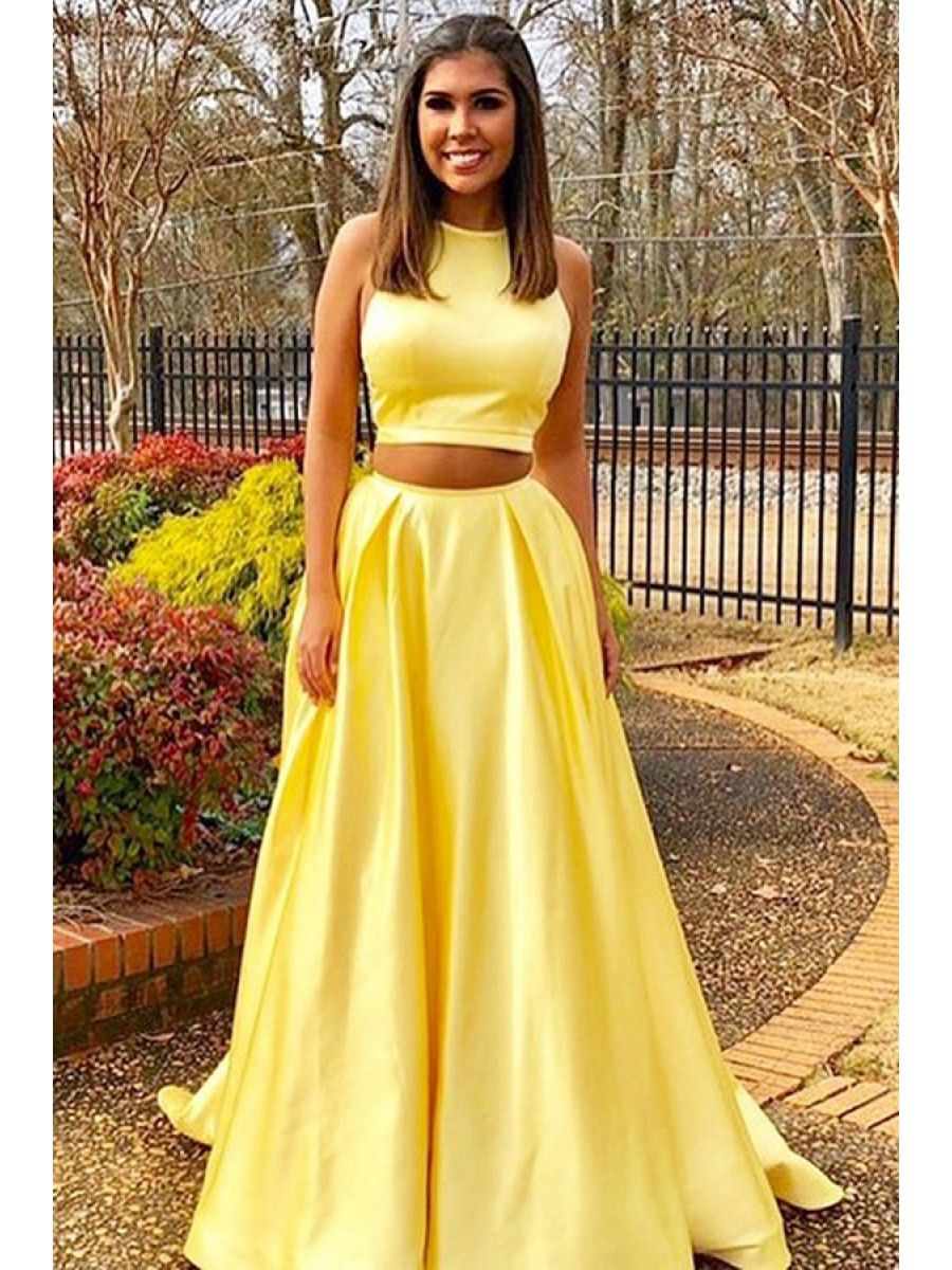 Long Yellow Two Pieces Prom Dresses Formal Evening Dresses 996021642