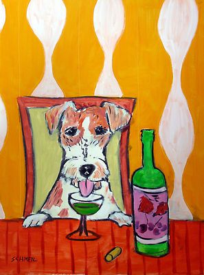 JACK RUSSELL terrier martini 11x14  art PRINT listed by artist animals