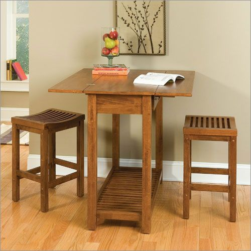 rolling OAK kitchen island tabletop with stools | Home ...