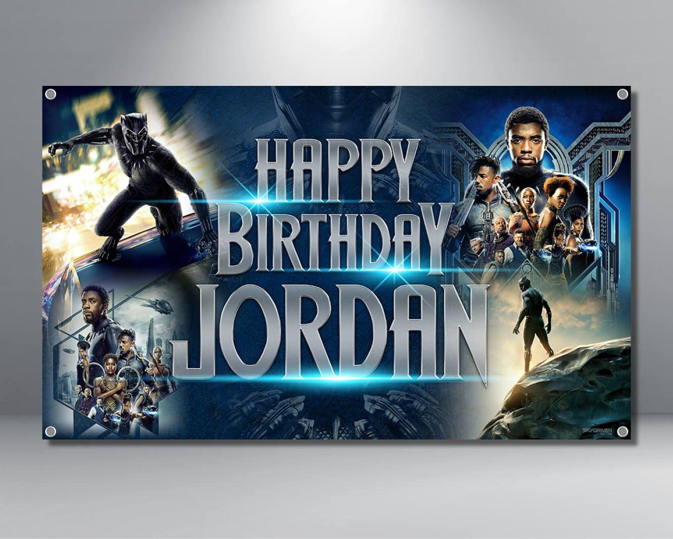 Black Panther Birthday Banner Custom Marvel Avengers