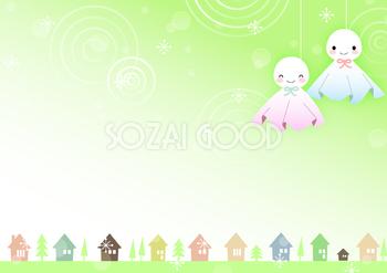 可愛い綺麗なてるてる坊主と家並み 梅雨の無料イラスト No 46457は グリーンとホワイトをモチーフで梅雨の季節5 6 7月に合った素材です Ai イラストレーター などのベクターデータでダウンロード可能で 商用可 ポスター チラシ ゲーム アニメ パンフレット